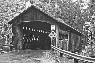 Photograph - Fall Foliage At The Coombs Covered Bridge Black And White by Adam Jewell