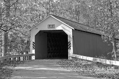 Photograph - Fall Foliage At The Eagleville Covered Bridge Black And White by Adam Jewell