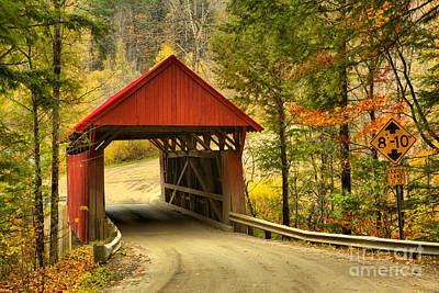Photograph - Fall Foliage At The Red Covered Bridge by Adam Jewell