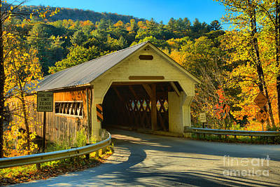 Photograph - Fall Foliage At The West Dummerston Covered Bridge by Adam Jewell