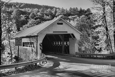 Photograph - Fall Foliage At The West Dummerston Covered Bridge Black And White by Adam Jewell
