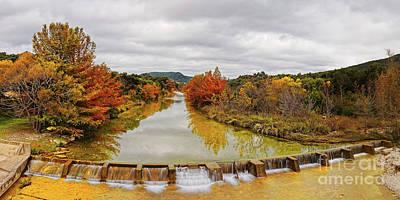 Photograph - Fall Foliage Panorama Of Sabinal River Dam At Vanderpool - Utopia County Texas Hill Country by Silvio Ligutti