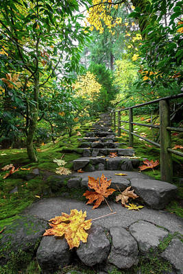 Photograph - Fall Garden Stairway by Wes and Dotty Weber