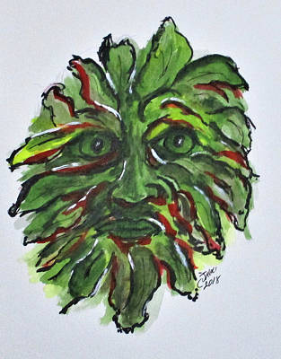 Mixed Media - Fall Green Man by Clyde J Kell