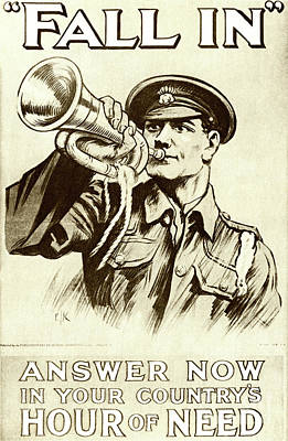 Drawing - Fall In  Recruitment Poster For The British Army In The First World War, 1915 by English School