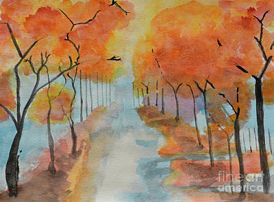 Painting - Fall Is My Fav Color - Watercolor by Adrian DeLeon