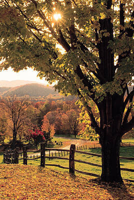 Vermont Photograph - Fall Landscape , Woodstock , Vermont by Comstock