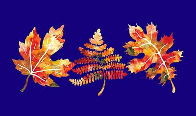 Royalty-Free and Rights-Managed Images - Fall Leaves Watercolor Silhouettes Oak Maple Fern by Irina Sztukowski