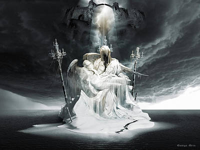 Surrealism Digital Art - Fall of Lucifer Pieta Gods and Heroes series by George Grie