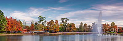 Photograph - Fall Panorama Of Mcgovern Lake At Hermann Park - Houston Museum District Texas by Silvio Ligutti