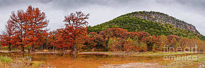 Photograph - Fall Panorama Of Old Baldy And Frio River At Garner State Park - Mager's Crossing Texas Hill Country by Silvio Ligutti