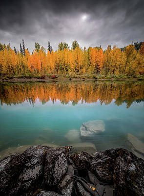 Photograph - Fall Reflection / Flathead River // Glacier National Park  by Nicholas Parker