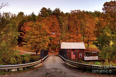 Photograph - Fall Sunset At Foundry Bridge In North Tunbridge Vermont by Daniel Brinneman
