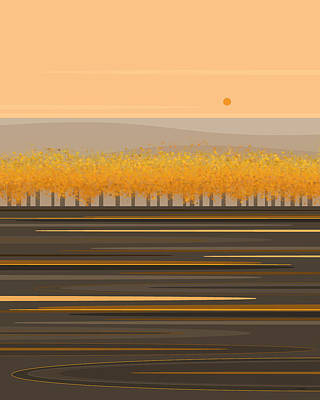 Digital Art - Fall Trees In A Row by Val Arie