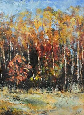Painting - Fall Trees Redux by Lindsay Frost