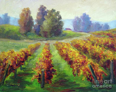 Painting - Fall Vineyard Trail by Carolyn Jarvis