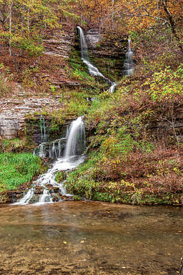 Photograph - Fall Waterfall Landscape In The Missouri Ozarks by Gregory Ballos