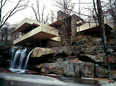 Balcony Photograph - Falling Water House by Archive Photos
