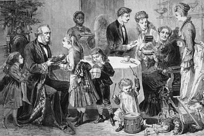 Family Christmas Art Print by Hulton Archive