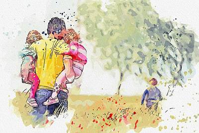 Anne Geddes Collection - Family in Poppies field -  watercolor by Ahmet Asar by Celestial Images
