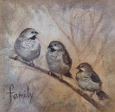 Mixed Media - Family Of Birds by Anne Stine