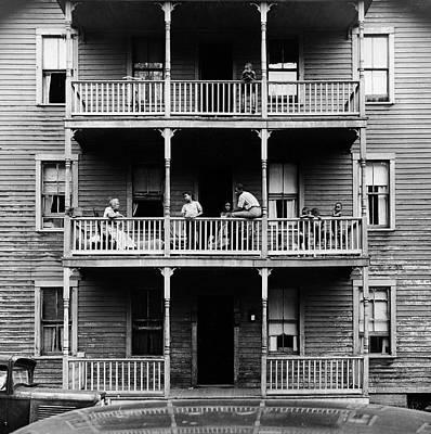 Balcony Photograph - Family On Balcony Of Apartment Building by Gordon Parks