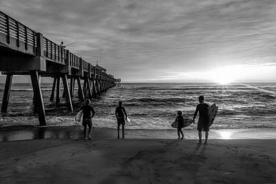 Photograph - Family Surfing In Black And White by Debra and Dave Vanderlaan