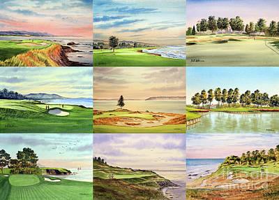 Recently Sold - Sports Royalty-Free and Rights-Managed Images - Famous Golf Courses In The USA Collage by Bill Holkham