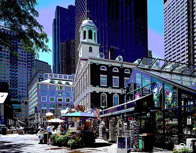 Mixed Media Royalty Free Images - Faneuil Hall Royalty-Free Image by Charles Shoup