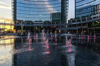 Travel - Fantabulous Piazza Gae Aulenti - Glossy Playful Fountains by Georgia Mizuleva