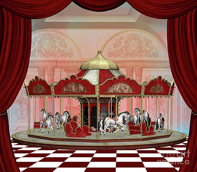 Surrealism Royalty-Free and Rights-Managed Images - Fantasy carousel on a surreal stage by EllerslieArt