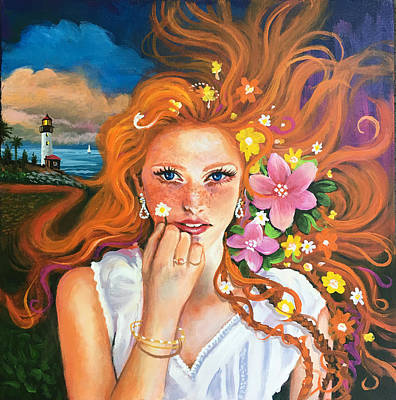 Painting - Fantasy Girl with hair by Robert Korhonen