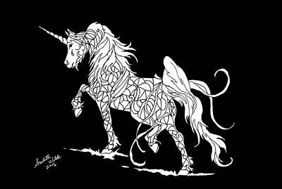 Drawing - Fantasy Unicorn 2 by Scarlette Wilde