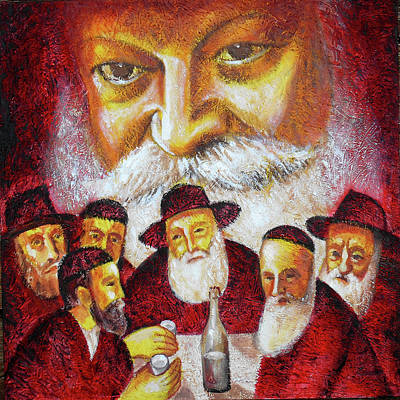 Painting - Farbrengen With The Rebbe by Leon Zernitsky