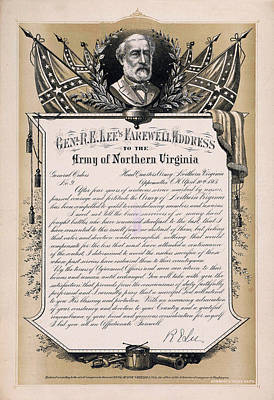 Photograph - Farewell Address Of General Robert E. Lee Given To Confederate S by Doc Braham