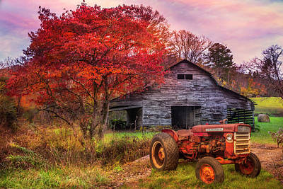 Photograph - Farm Barn In Late Autumn by Debra and Dave Vanderlaan