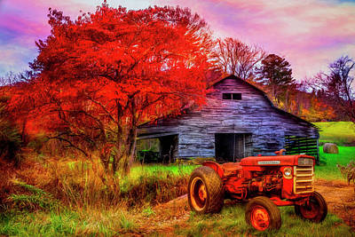 Photograph - Farm Barn In Late Autumn Hdr Detail by Debra and Dave Vanderlaan
