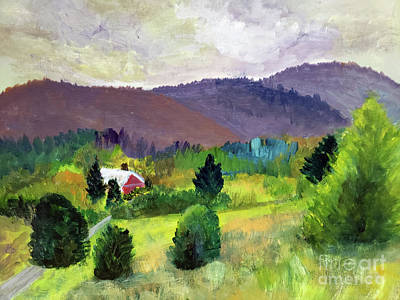 Painting - Farm Nestled By Mountains by Donna Walsh