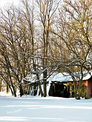 Photograph - Farm Shed In Snow by Diane Chandler