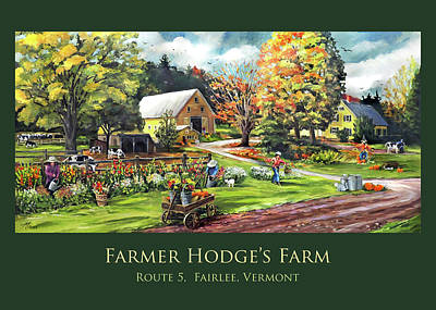 Painting - Farmer Hodges Farm Design With Title by Nancy Griswold