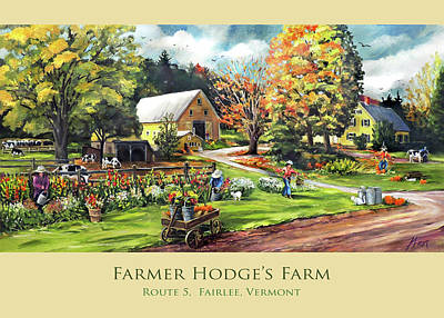Painting - Farmer Hodge's Farm In Fairlee Vermont Card Mug Tote And Pillow Design by Nancy Griswold