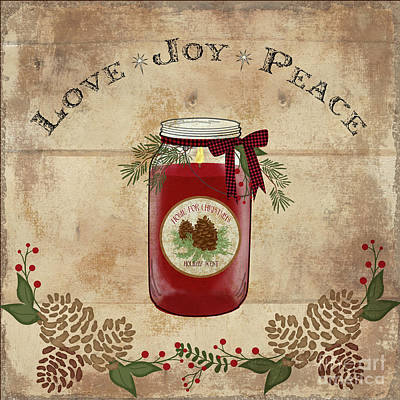 Painting - Farmhouse Christmas Lodge Love Joy Peace by Audrey Jeanne Roberts