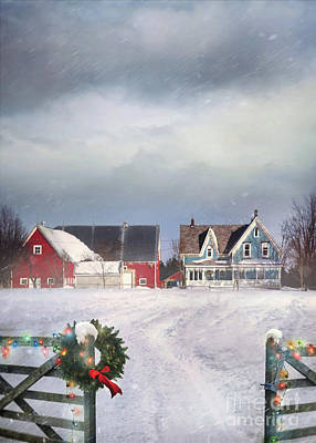 Photograph - Farmhouse On Cold Winter Day by Sandra Cunningham