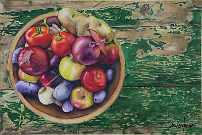 Painting - Farmhouse Vegetables by Sonserae Leese