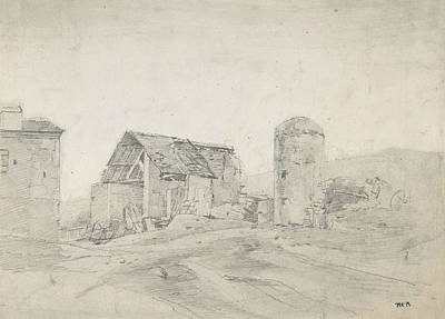 Drawing - Farmyard In Normandy by Theodore Rousseau