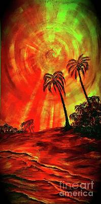 Painting - Evening Of Yellow Sun by Michael Silbaugh