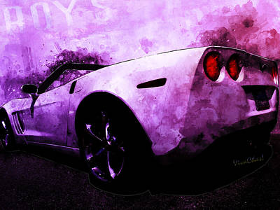Digital Art - Fat Bottom Vette At Roy's Cafe Route 66 Late by Chas Sinklier