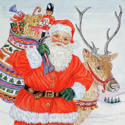 Reindeer Painting - Father Christmas And His Reindeer  by Catherine Bradbury