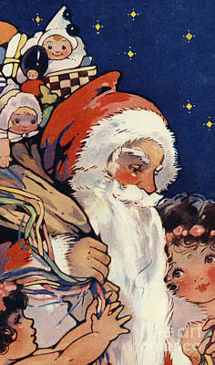 Painting - Father Christmas With Sack Of Toys For Children by English School