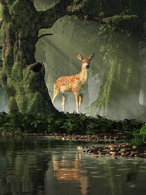 Digital Art - Fawn In The Forest by Daniel Eskridge